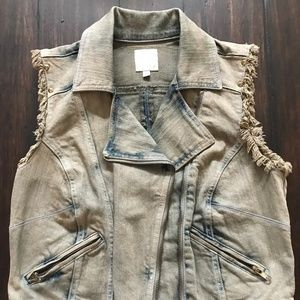 CHORD Acid Wash Denim Zipper Vest size M